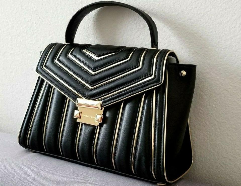 3fb993a0056e1f Michael Kors Durable Leather Whitney Quilted Whitney Rare Satchel in Black  Image 9. 12345678910