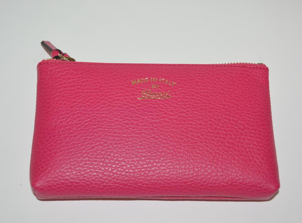 3c1c1d87f749 Gucci Pebbled Pouch New Trademark Logo Purse Blossom Pink Leather ...