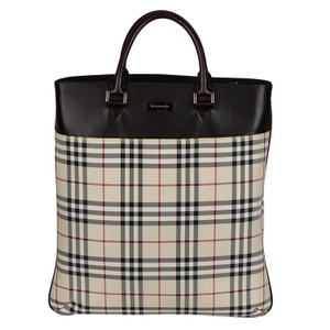 Burberry Nova Checkered Leather Tote in Brown