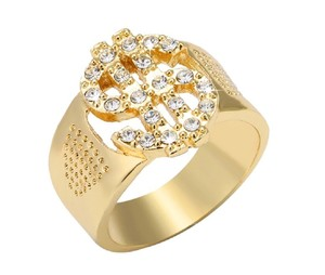 Other 18K Gold-Plated 1.00 CTW Dollar Sign Bling Money Symbol Men Ring