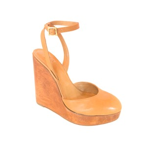 Tory Burch Strappy Leather Wood tan Wedges
