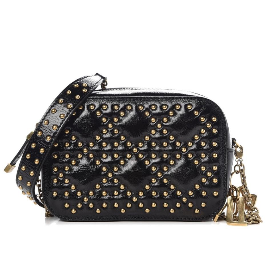 fb03bb51d8bc Dior Crinkled Calfskin Studded Cannage Camera Case Black Cross Body ...