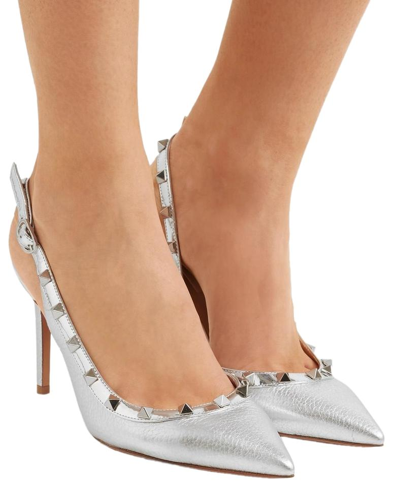3a545235efe73 Valentino Silver Metallic Ebbled Leather Rockstud Pointed-toe Pumps ...