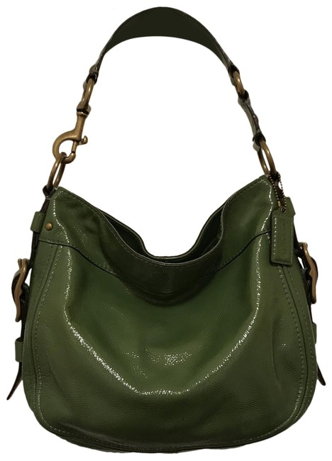 Item - Zoe 12735 Green Gold Patent Leather Hobo Bag