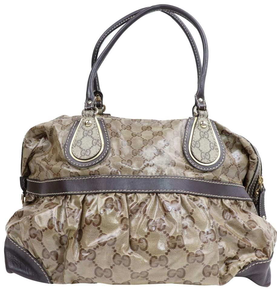 e6bb5ac5c Gucci Crystal Supreme Mix Monogram Bowler 870206 Brown Coated Canvas ...
