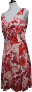 Pink & White Maxi Dress by Jones New York Flared Floral Sleeveless
