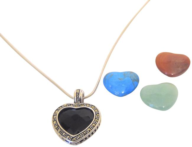 Item - .925 W Interchangeable Gemstone Heart Pendant W/Chain Necklace