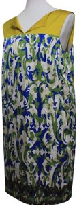 Yellow & Blue & Green Maxi Dress by Jones New York Retro Silk Sleeveless