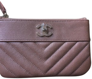 Chanel Auth. Sold out 19P Chanel Iridescent Rose Gold Grained Lambskin Mini Zip O case/ wallet