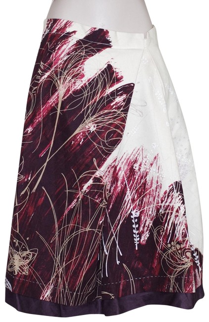 Item - Multi Color Cotton Ivory Burgundy Print Pleated Skirt Size 4 (S, 27)