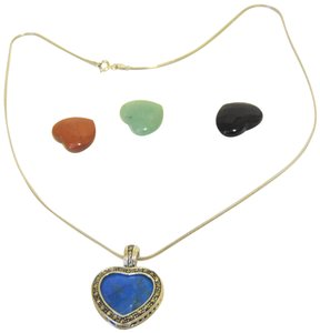 Colleen Lopez Colleen Lopez Interchangeable Gemstone Heart Pendant Necklace w/Chain