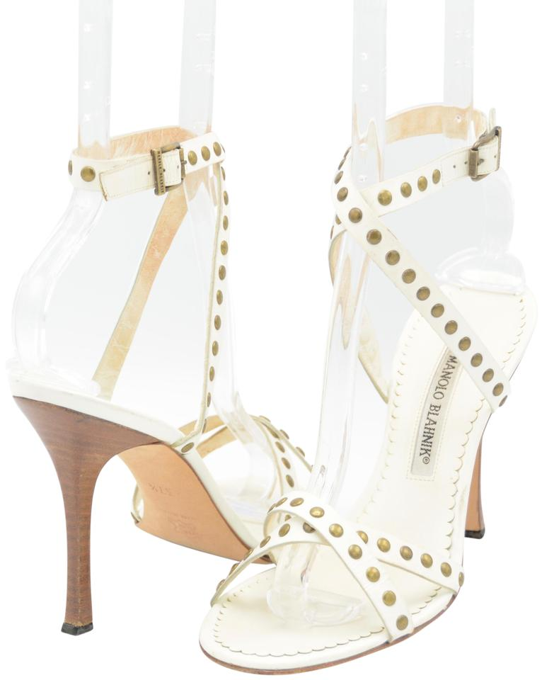 3a0261c2546 Manolo Blahnik White Leather Strappy Studded Sandals Size US 7.5 ...