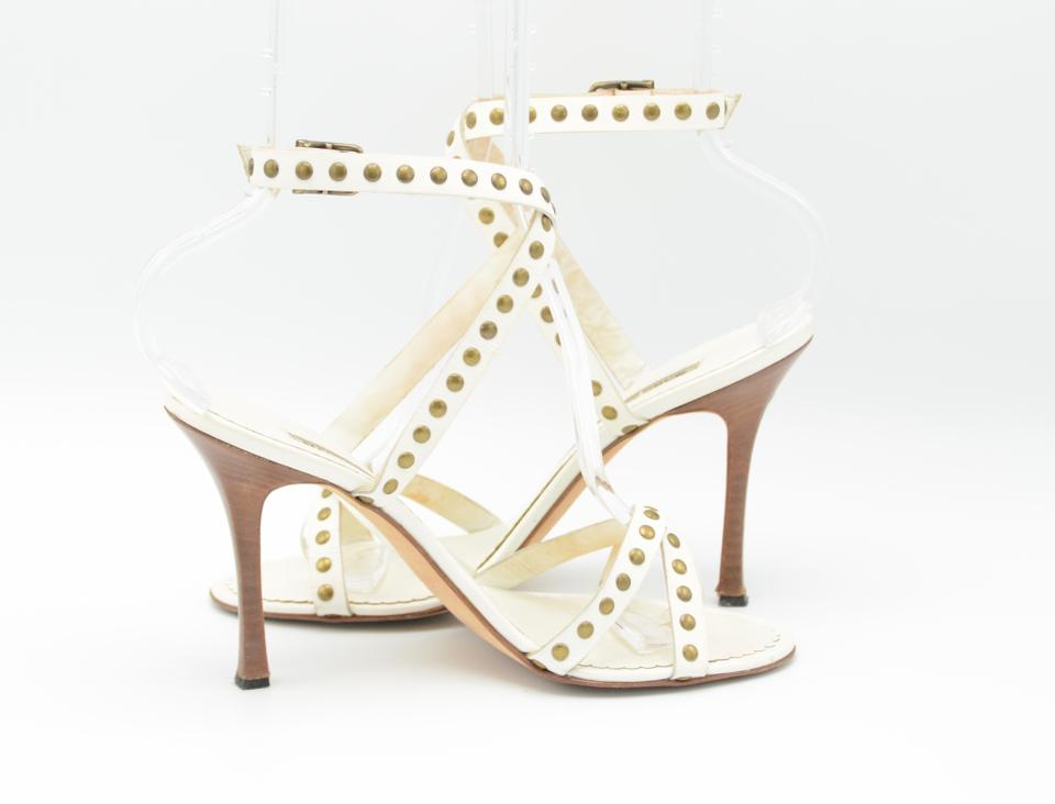 813c1a9031b Manolo Blahnik White Leather Strappy Studded Sandals. Size  US 7.5 Regular ( M ...