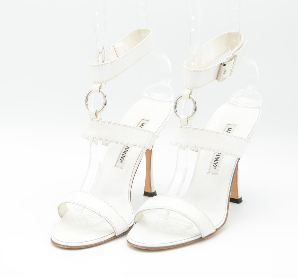 ae5b268b034 Manolo Blahnik White Leather Strappy Sandals Size US 7.5 Regular (M ...