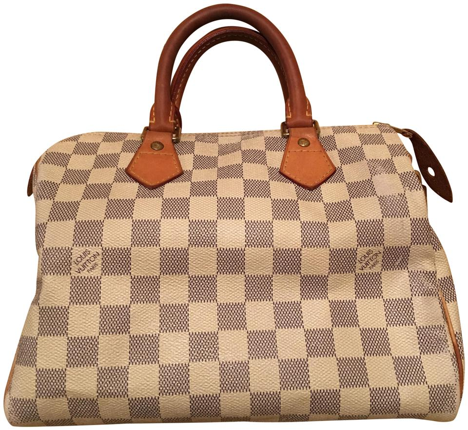 df298ab50856 Louis Vuitton Speedy 25 Damier Azur Canvas White Leather Tote - Tradesy