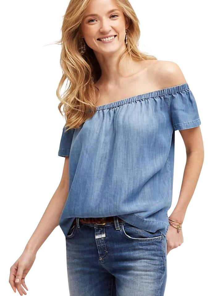 bcaeccce192 Cloth   Stone Blue Anthropologie Chambray Off Shoulder Blouse Size 2 ...