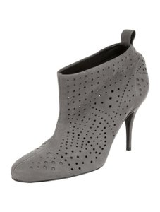 Stella McCartney Suede Perforated Ankle Round Toe Skinny Black Boots