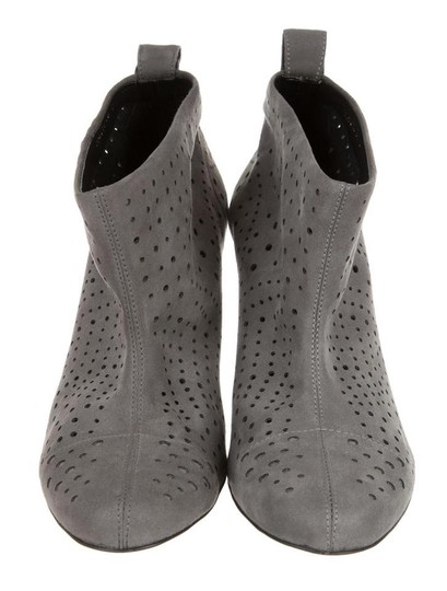 Stella McCartney Suede Perforated Ankle Round Toe Skinny Grey Boots