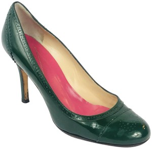 04579873d140 Kate Spade Patent Leather Full Brogue Cap Toe Green Pumps
