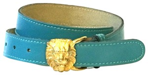 Anne Klein Vintage LION HEAD Anne Klein for Calderon Teal Turquoise Leather Belt