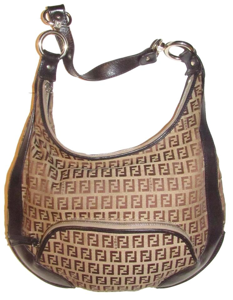 6f7daaed28de Fendi Mint Condition Bold Gold Accents Xl Chef Canvas Leather Hobo Bag  Image 0 ...