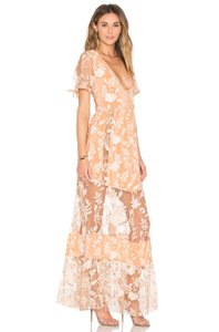 Peach Maxi Dress by For Love & Lemons Maxi Floral Sheer Party Blogger