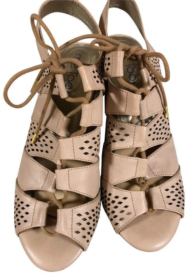 f1acfcd50f07 Me Too Nude Tan Pierced Leather Lace Up Sandal Wedges. Size  US 9 ...