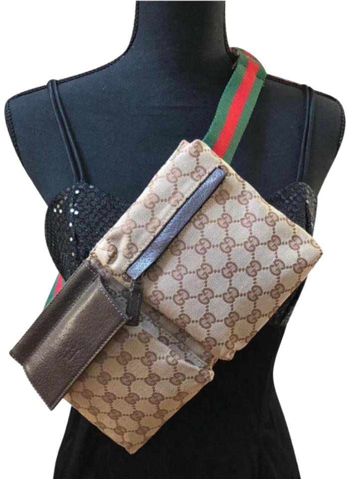 b0d53b565797 Gucci Gg Fanny Pack Beltbag Sling (Mint) Brown Monogram with Red ...