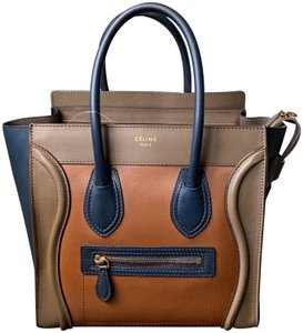 0d3b7ab78178 Céline Luggage Micro Micro Luggage Tricolor Tote in Multicolor Camel Navy