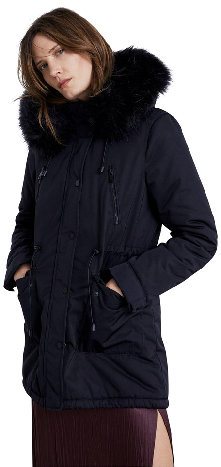 dd3a5f6e Zara Black New Parka Fur Winter Hooded Jacket Coat Size 2 (XS)