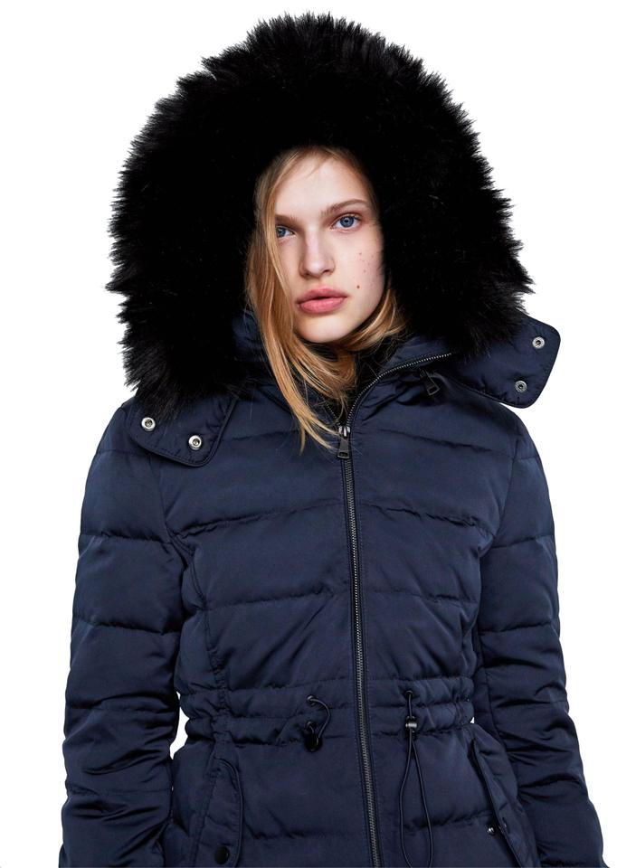 129fbf92 Zara Navy Blue New Down Hooded Faux Fur Puffer Winter Jacket Coat ...