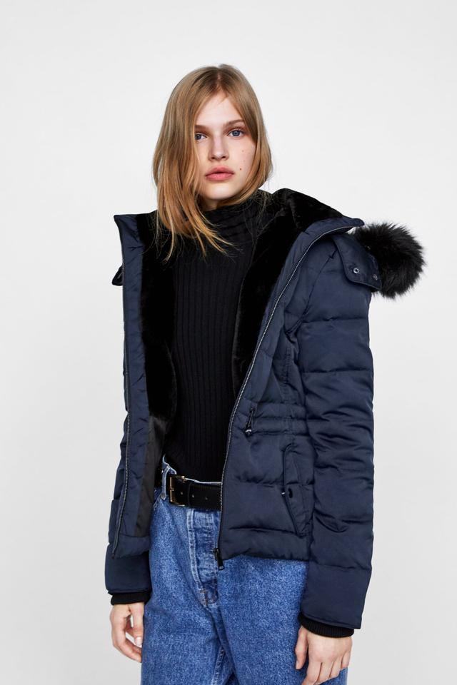 e2082797 Zara Navy Blue New Down Hooded Faux Fur Puffer Winter Jacket Coat Size 4  (S) - Tradesy