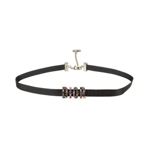 Dior Black Multicolor 'Dior' Ribbon Strass Choker Necklace