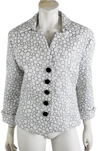 Samuel Dong Quilted 3/4 Sleeve Embroidered Contour Lightweight White Black Blazer