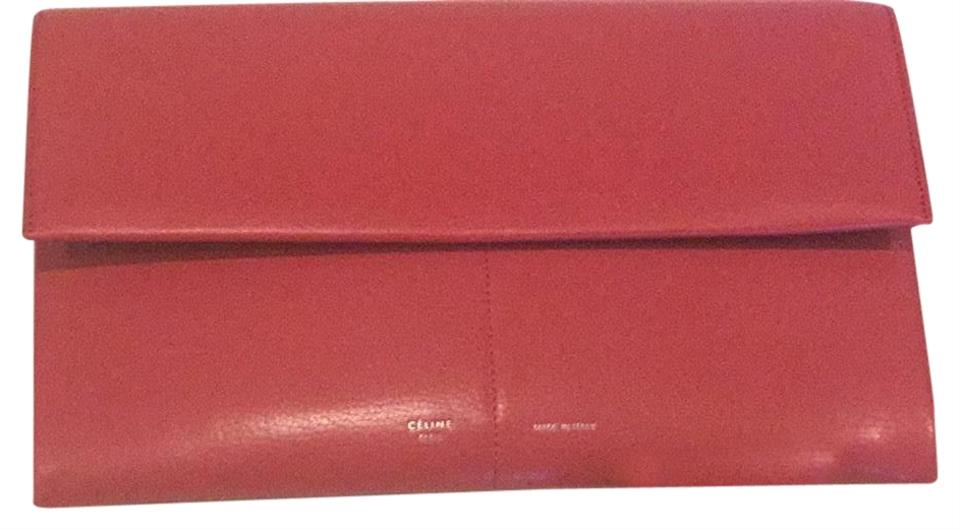 e13f668410 Céline Folded Clutch Phoebe Philo Beauty Pinkish Red Leather Shoulder Bag