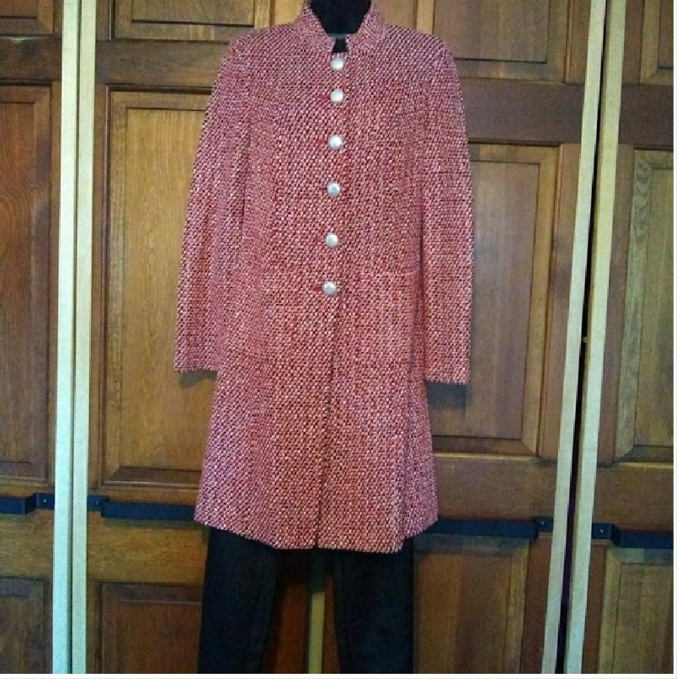 8f206327126 St. John Red and White Collection Long Duster Cardigan Size 6 (S ...