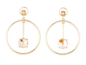 Oscar de la Renta Oscar de la Renta Signed Crystal Embellished Circle Drop Earrings