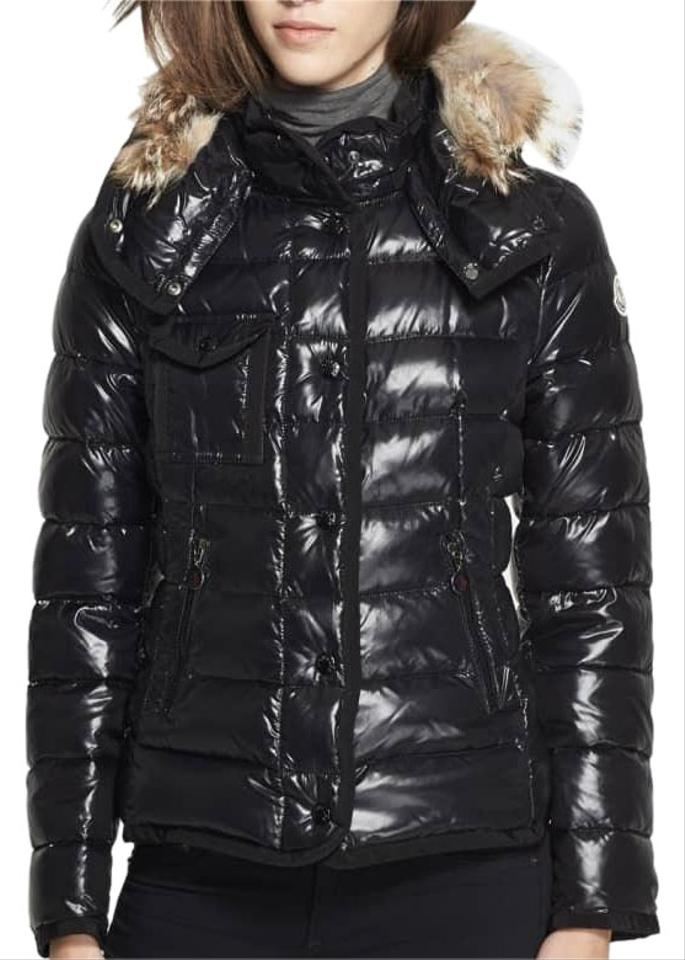 4ee8ca3c5 Moncler Black  armco  Genuine Coyote Fur Trim Goose Down Jacket Coat ...
