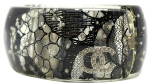 Chanel Lucite Chanel Black Lace And Pearl Lucite Cuff Bracelet