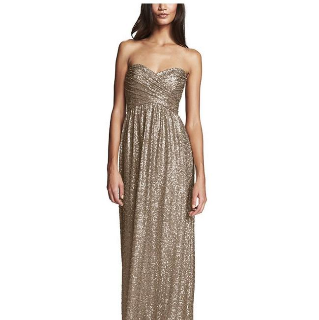 Item - Gold Sequin Sweet Heart Formal Bridesmaid/Mob Dress Size 4 (S)