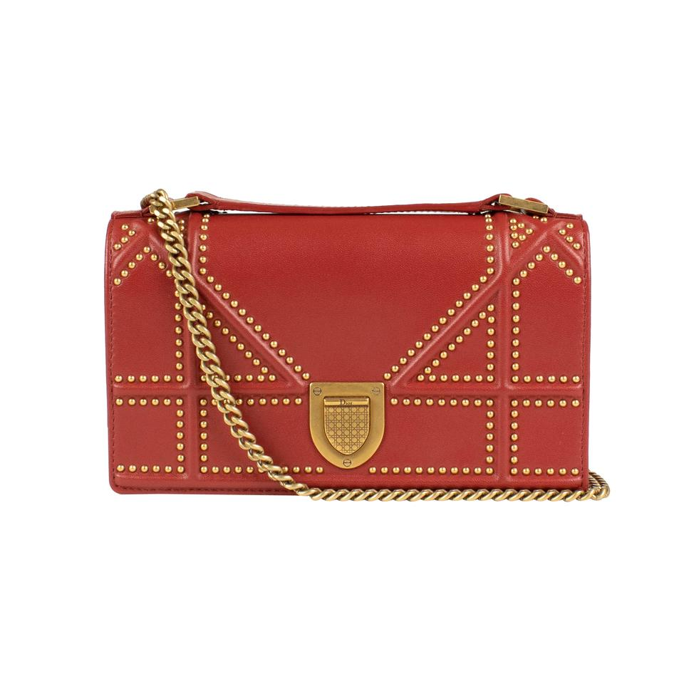 18632d155301 Dior  diorama  Rusty Lambskin Studded Pouch Red Leather Shoulder Bag ...