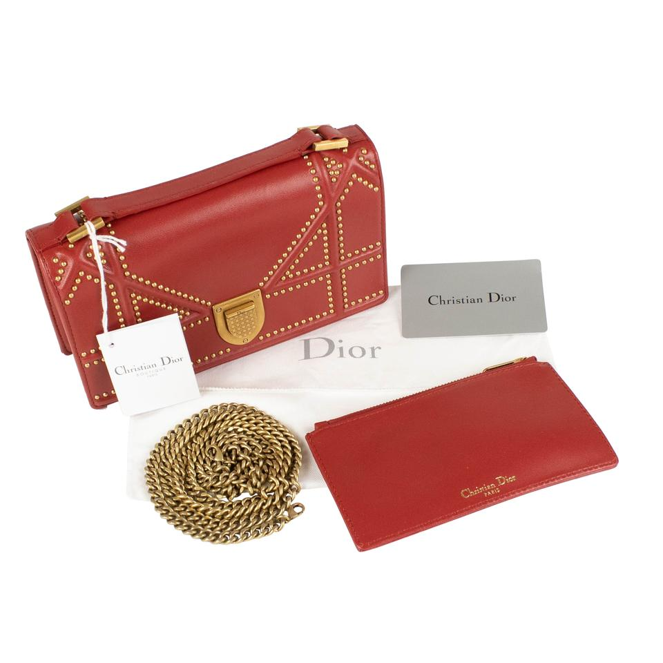 01331f85bcf6 Dior  diorama  Rusty Lambskin Studded Pouch Red Leather Shoulder Bag -  Tradesy