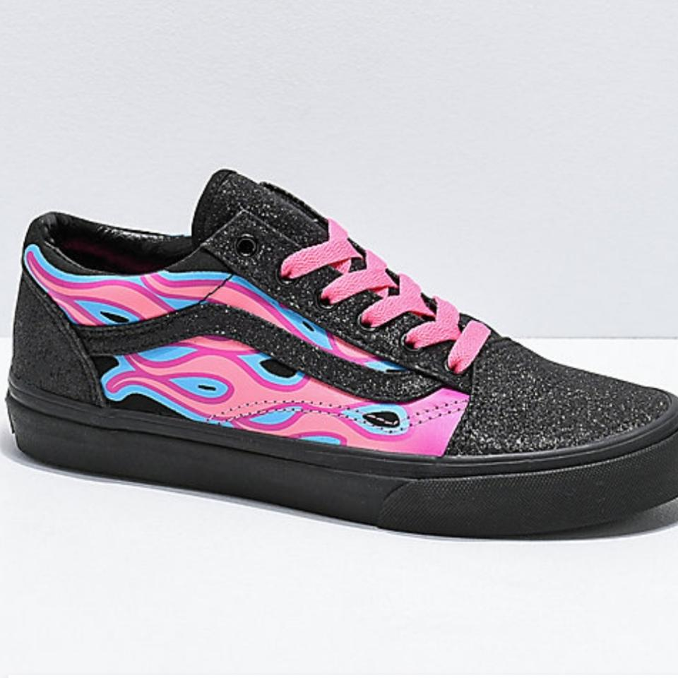 f1720d7501865f Vans Pink and Black Old Skool Sparkle Flame Sneakers Sneakers Size ...