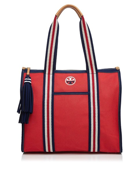 Item - Embroidered T Cherry Red Cotton Tote