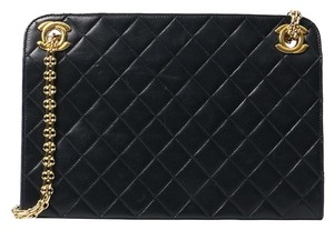 Chanel Vintage Shoulder Lambskin Tote in black