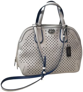Coach Shoulder Rare Silver Hardware Perforated Satchel in White Blue 16f504bde4e23