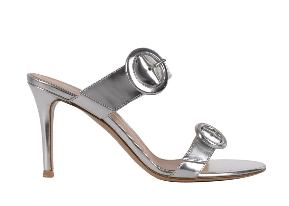 d4223609401 Gianvito Rossi Silver Womens Metallic Double Band Mule C3524 Sandals ...