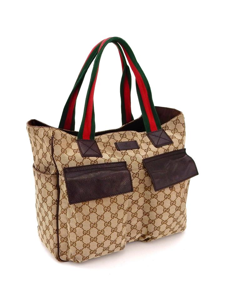 Gucci Diaper Carry All Brown Web Gg Monogram Canvas Leather Shoulder ... affe01fed0513