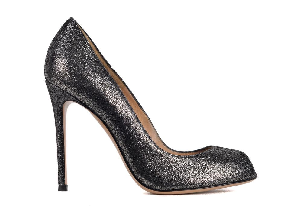 533c5723a019 Gianvito Rossi Black Womens Grey Leather Glitter Peep C3526 Pumps ...