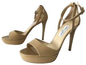 Jimmy Choo Kayden Kid Leather Lacquered Nude Pumps